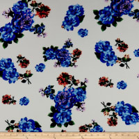 Liverpool Double Knit Floral Blue/Ivory
