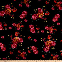 Liverpool Double Knit Floral Fuschia/Black