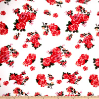 Liverpool Double Knit Floral Dark Coral/Ivory