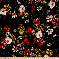 Liverpool Double Knit Floral Garden Black/Red