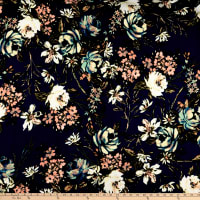 Liverpool Double Knit Floral Garden Navy/Blush