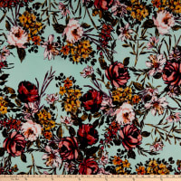 Liverpool Double Knit Floral Garden Mint/Pink