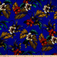Liverpool Double Knit Tropical Floral Royal/Ivory