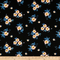 Liverpool Double Knit Mini Floral Bouquet Black/Coral