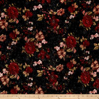 Liverpool Double Knit Distressed Floral Black/Red