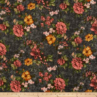 Liverpool Double Knit Distressed Floral Charcoal/Coral