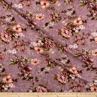 Liverpool Double Knit Distressed Floral Lavender/Mauve