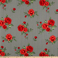 Liverpool Double Knit Stripe Roses Black/Red