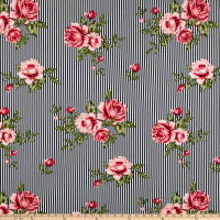 Liverpool Double Knit Stripe Roses Navy/Rose