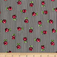 Rayon Challis Stripe Small Roses Black/Red