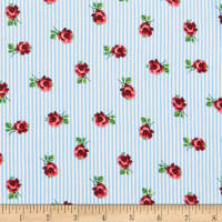 Rayon Challis Stripe Small Roses Light Blue/Red