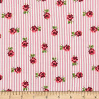 Rayon Challis Stripe Small Roses Mauve/Red