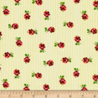 Rayon Challis Stripe Small Roses Yellow/Red