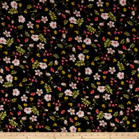 Rayon Challis Multi Floral Black/Blush
