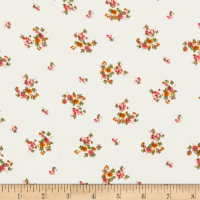 Rayon Challis Mini Floral Bouquet Cream/Olive/Mustard