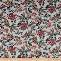 Rayon Challis Multi Floral Garden Pink/Coral