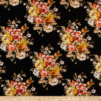 Rayon Challis English Floral Black/Coral