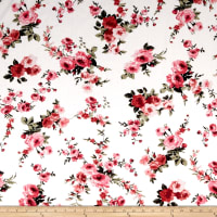 Rayon Challis English Floral Ivory/Coral