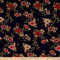 Rayon Challis Multi Floral Navy/Coral