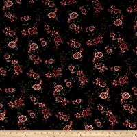 Rayon Challis Multi Floral Black/Rose