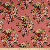 Rayon Challis Rose Bouquet Coral/Yellow