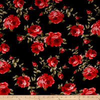 Rayon Challis Roses Black/Red