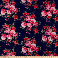 Rayon Challis Rose Bouquet Navy/Pink