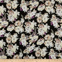 Rayon Challis Rose Bouquet Black/Taupe