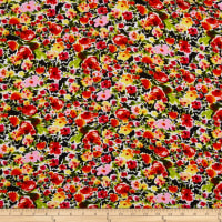 Rayon Challis Tropical Floral Black/Mustard