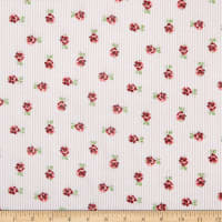 Rayon Challis Striped Roses Mauve/Red