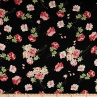 Rayon Challis English Roses Black/Coral