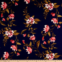 Rayon Challis Floral Navy/Coral