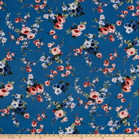 Rayon Challis Daisy Floral Navy/Taupe