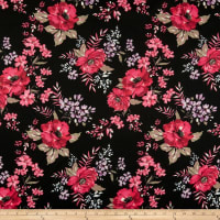 Techno Scuba Knit English Floral Garden Black/Coral