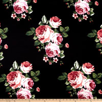 Techno Scuba Knit English Roses Black/Mauve