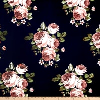 Techno Scuba Knit English Roses Navy/Taupe
