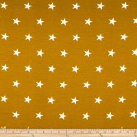 California Stretch French Terry Stars Mustard