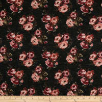 California Stretch French Terry Rose Bouquet Black/Mauve