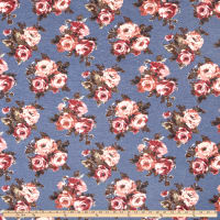 California Stretch French Terry Rose Bouquet Denim/Mauve
