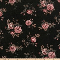 California Stretch French Terry Roses Charcoal/Mauve