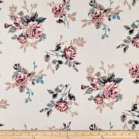 California Stretch French Terry Roses Cream/Mauve