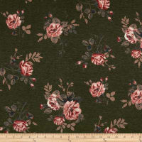 California Stretch French Terry Roses Olive/Mauve