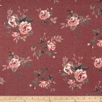 California Stretch French Terry Roses Wine/Mauve