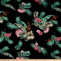 ITY Stretch Jersey Knit Tropical Floral Black/Blush