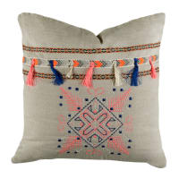 "STOF France 15.7"" x 15.7"" Pueblo Inspired Tassel Throw Pillow Linen"