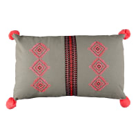 "Stof France 11.8"" x 19.6"" Pueblo Pom Pom Throw Pillow Grey"