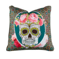 "STOF France 15.7"" x 15.7"" Calavera Throw Pillow Vert"