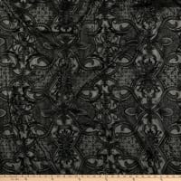 Klauber Bros. Embroidery on Organza Lace Black