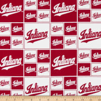 NCAA Indiana Box All Over Cotton Broadcloth Red/White