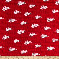 NCAA Cotton Broadcloth Indiana Distressed Allover Red/White